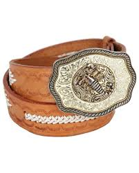 tooled brown mexican leather belt with scorpion belt buckle w33 37