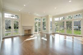 living room with wall of windows stock photo