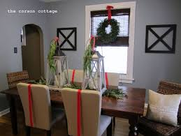christmas dining room table centerpieces. Dining Room:Retro Christmas Table Decoration Ideas Round Green Hanging Wreath Rattan Chairs Room Centerpieces A