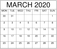 Images For March 2020 Calendar Printable 12 Month