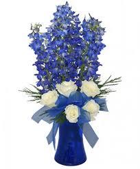 brilliant blue bouquet of flowers