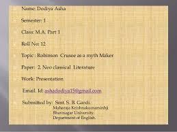 robinson crusoe robinson crusoe iuml130uml dodiya asha iuml130uml semester 1 iuml130uml class m a part 1