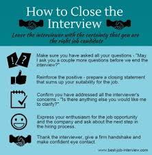 good questions to ask during a job interview closing the interview what to say and do