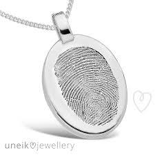 oval single fingerprint pendant sterling silver