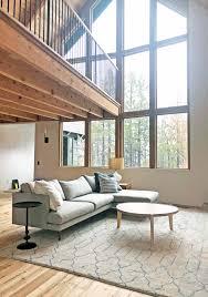 emily henderson mountain house living room rug trellis rug