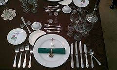 formal setting of a table. formal place setting for 8 course dinner of a table