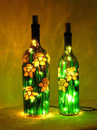 glass bottle lighting. simple bottle daffodils stained glass bottle with lightsi bet you could make your own  version of for glass bottle lighting u