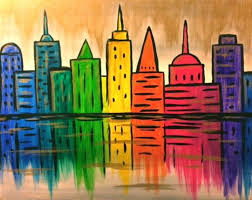 silver mist and golden rain sparkle around a rainbow colored city by a river