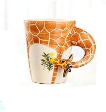 Hand-painted Ceramic Animal Coffee Mug - Lively Grazing Giraffe