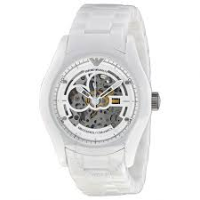 emporio armani skeleton dial white ceramic men s watch ar1415 emporio armani skeleton dial white ceramic men s watch ar1415