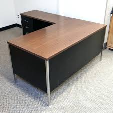 office desk black. L Shaped Office Desk Used Left Metal Black Mahogany U