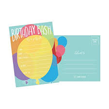 Birthday Party Evites 25 Balloon Rainbow Party Invitations For Kids Teens Adults Boys Girls Blank Children Happy 1st Birthday Invitation Cards Unique Baby First Bday
