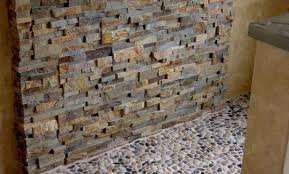 natural stacked stone veneer shower wall