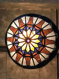 stained glass ceiling light. 1920s Stained Glass Ceiling Light - Picture 2