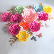 Homemade Paper Flower Decorations Large Artificial Handmade Paper Flowers Backdrop Leaves Butterflies