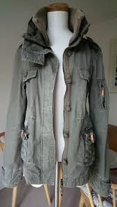 superdry military jacket waxed cotton to fit uk 10