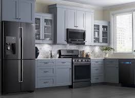 black and stainless kitchen not the lg appliances but i do love the black stainless against the grey cabinets