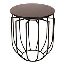 pedestal round metal sofa end with