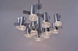 sciolari large chandelier 16 lights chrome glass 1970 s italian
