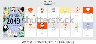 Cute 2019 Calendar Yearly Planner Calendar Stock Vector Royalty