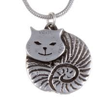 st justin pewter fat cat pendant small