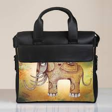 Elephant Designer Bag Traditional Elephant Designer Brief Case Black Leather