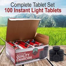 Best Instant Light Charcoal Woodbine Hookah Coals Incense Charcoal Fire Starters 100 Tablets Instant Light Quick Burning Briquettes Round 33mm