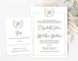 Invitations Formal Amazon Com Monogram Wedding Invitation Initial Crest