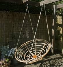 hanging outdoor papasan chair on pergola for garden decoration ideas