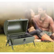 Lò nướng than du lịch dã ngoại Hun khói có đồng hồ đo nhiệt độ BBQ Bacon  USA - Harushop168
