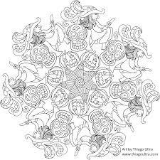 Free Coloring Page Halloween Mandala Mandala