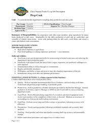 Chef Job Description Template Prep Cook Resume Bursary Cover
