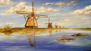 windmills of holland collaboration acrylic painting clive5art