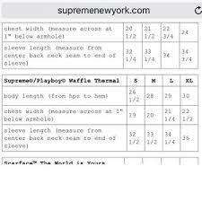 Supreme Tee Size Chart Fw18 Just Me And Supreme