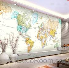 map wall decals also colorful world map wallpaper wall decals wall art print mural home decor office business indoor treasure map wall decals arz