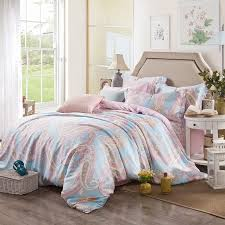 pale pink light blue and gold tribal paisley print bohemian boho style southwestern 100 tencel full queen size bedding sets