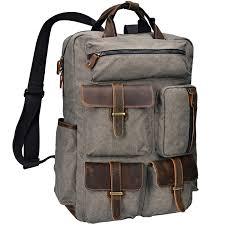 com altosy canvas backpack crazy horse leather rucksack for men laptop bag 5351 1 army green altosy co ltd