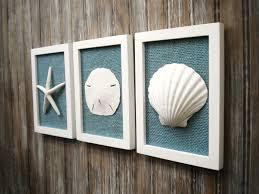 ... White Seashell And Starfish Cottage Chic Set Of Beach Wall Art Decor  Coastal And Nautical Decor ...