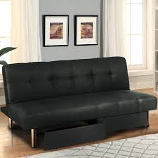 Foldable Microfiber Futon Sofa Bed w/ Storage Compartments - Black
