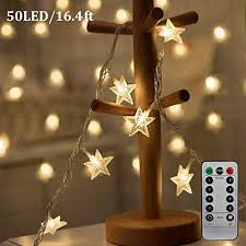 iziv 50 led 16 4ft warm white star lights w remote control outdoor indoor battery powered five pointed star string lights for weddings family