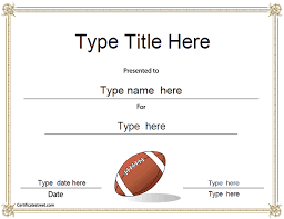 Football Mvp Certificate Template Free Football Certificate