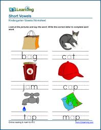 Activity worksheets for beginner phonics books. Free Preschool Kindergarten Vowels Worksheets Printable K5 Learning
