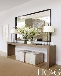 E  Hall Table Ideas Epic Long Hallw Contemporary Neutral Entry Way Design  With Oversized Mirror And Dual Lamps Ottomans