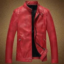 red faux leather jacket mens new