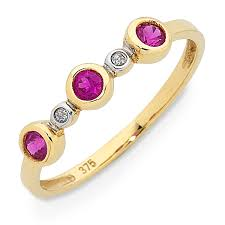 home 9ct gold created ruby diamond ring
