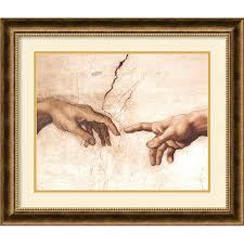 the creation of adam by michelangelo buonarroti framed painting print