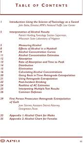 Alcohol Absorption Rate Chart Special Topics Series American Prosecutors Research