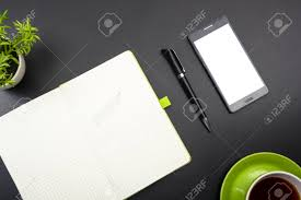 office table top view. Interesting View Business Card Blank Smartphone Or Tablet Pc Flower And Pen At Office Desk  Table In Office Table Top View C