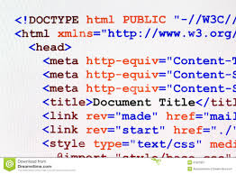 HTML Web Page Code Front View Stock Image - Image of document ...