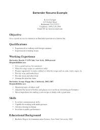 Resume Objective For Bartender Example Bartender Resume Resume ...